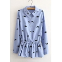 Elastic Waist Lapel Whale Printed Long Sleeve Button Down Shirt Dress