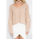 Chic Loose Cutout V-Neck Dropped Zipper Long Sleeve Plain Sweater