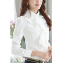 OL Style Ruffle Front Single Breasted Lapel Plain Shirt