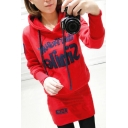Casual Drawstring Hooded Embroidery Letter Appliqued Long Sleeve Mini Sweatshirt Dress