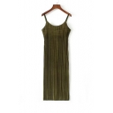 New Fashion Open Back Spaghetti Straps Velvet Pleated Plain Maxi Slip Dress