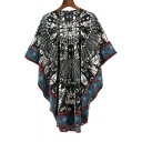 Women's New Fashion Round Neck Tribal Print Casual Mini Cape Dress