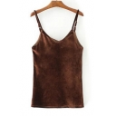 Women's New Fashion Spaghetti Straps Plain Velvet Cami T-Shirt