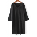 V-Neck 3/4 Length Sleeve New Arrival Plain Loose Shift Mini Dress