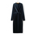 New Fashion Stand-Up Collar Long Sleeve Sashes Waist Bodycon Velvet Maxi Dress