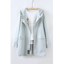Hooded Zipper Placket Long Sleeve Plain Tunic Coat with Pockets