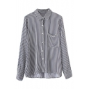 Vertical Striped Color Block Single Breasted Lapel Shirt with One Pocket