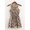 Rhombus Color Block Sleeveless Mini A-Line Tribal Dress with Belt