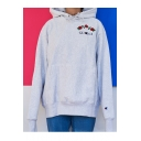Drawstring Hooded Embroidery Letter Floral Pattern Hoodie Sweatshirt