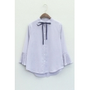Fashion High Low Hem Single Breasted Ruffle Long Sleeve Plain Blouse with Tie