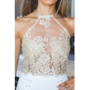 Women's Sexy Sheer Lace Crochet Sleeveless Halter Zip-Back Cami Tank