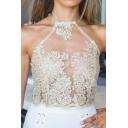 Women's Sexy Sheer Lace Crochet Sleeveless Halter Zip-Back Cami Tank