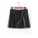 Women's Fashion Zip Side Leather Wrap Studded A-Line Mini Skirt