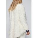 Women's Fashion Long Sleeve Solid Color Open Front Fur Coat