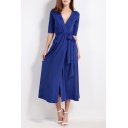 Sexy Plunge V-Neck Half Sleeve Wrap Split Front Belt Waist Plain Maxi Dress with Pockets