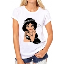 Cartoon Snow White Print New Fashion Round Neck Short Sleeve Basic Tee