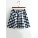 Women's Plaid Color Block Elastic Waist Mini A-Line Skirt with Two Pockets