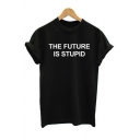 Funny Letter Print Round Neck Short Sleeve Cotton T-Shirt for Couple