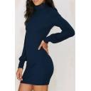 Chic High Neck Lantern Long Sleeve Plain Mini Bodycon Sweater Dress