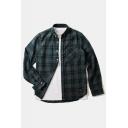Classic Plaid Pattern Lapel Collar Long Sleeve High Low Hem Shirt with One Pocket