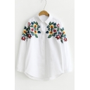 Women's Floral Embroidery Lapel Single Breasted Long Sleeve Shirt