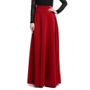 Elegant Plain Maxi A-Line Swing Skirt