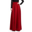 Elegant Plain Maxi A-Line Swing Skirt