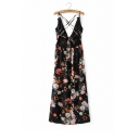 Sexy Crisscross Tied Back Plunge V-Neck Sleeveless Floral Printed Maxi Cami Dress