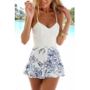Women's Spaghetti Straps Open Back Zip Back Lace Patched Floral Print Rompers