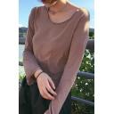 Women's Casual Long Sleeve Round Neck Plain T-Shirt