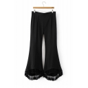 New Arrival Side Zip Tassel Trim Plain Fitted Flared Pants