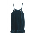 Sexy Velvet Sleeveless Spaghetti Straps Ruffle Hem Plain Mini Cami Dress