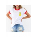 Cute Pineapple Print Color Block Round Neck Short Sleeve Tee