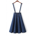 New Fashion Double Buttons Denim Overall A-Line Midi Skirt