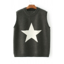Contrast Pentacle Crochet Sleeveless Round Neck Knitted Sweater