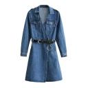 New Stylish Wrap Front Belt Waist Long Sleeve Lapel Mini Denim Dress with Pockets