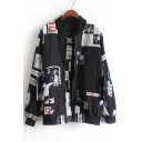 Hot Fashion Stand-Up Collar Long Sleeve Color Block Printed Baseball Jacket