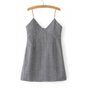 Retro Stylish Spaghetti Straps V-Neck Sleeveless Vertical Striped Mini Cami Dress