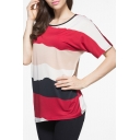 Casual Striped Color Block Short Sleeve Round Neck Tee