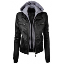 Fashion Hooded Zipper Placket Long Sleeve False Two-Piece PU Jacket