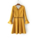 V-Neck Front Back Bell Sleeve Lace Patched Hollow Out A-Line Suede Dress