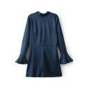 Fashion Flare Sleeve Round Neck V-Back Hollow Out Plain A-Line Mini Dress