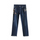 New Arrival Insect Floral Embroidery Zip Fly Raw Edge Denim Pants