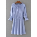 Women's Drawstring Round Neck Elastic Waist Raglan Long Sleeve Striped Mini Dress