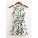 Floral Printed Color Block Sleeveless Round Neck Belt Waist Mini Summer Dress