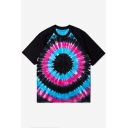 Unisex Color Block Ring Printed Raglan Short Sleeve Casual Tee with Round Neck