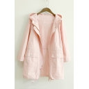 Candy Colored Hooded Zipper Placket Plain Tunic Trench Coat