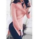 Fashion Mock Neck Long Sleeve High Low Hem Plain Tunic Sweater