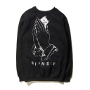 RIPNDIP Cartoon Cat Hand Printed Back Round Neck Pullover Sweatshirt with One Pocket