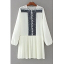 Women's Square Neck Long Sleeve Embroidery Color Block Pleated Mini Dress